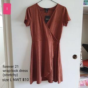 Rust stretch wrap-look dress, NWT size L